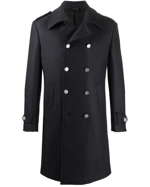 Tonello Black Wool Coat for men