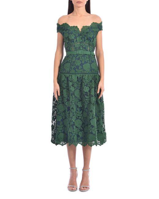 Self-Portrait Green Off-the-shoulder Lace Midi Dress