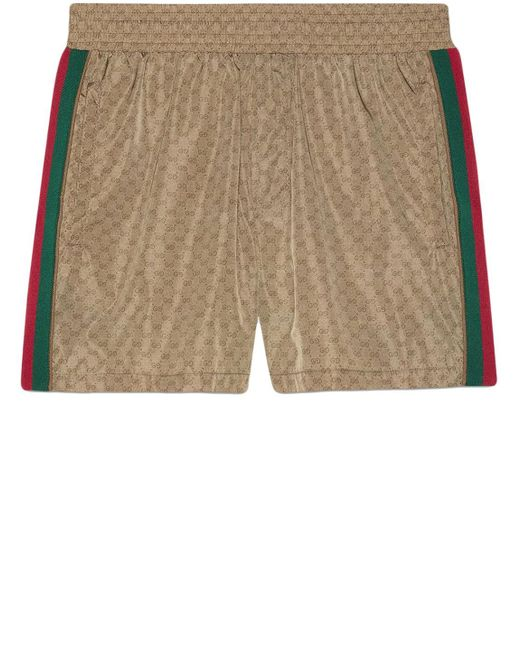 Gucci Brown Nylon Swim Shorts With GG for men
