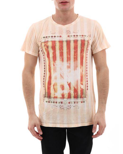 T-Shirt con Stampa Arancio di Balmain in Orange da Uomo