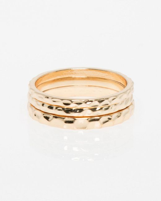 Le Chateau - Metallic Set Of Metal Rings - Lyst