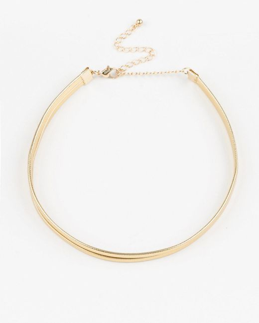 Le Chateau - Metallic Leather-like Choker Necklace - Lyst