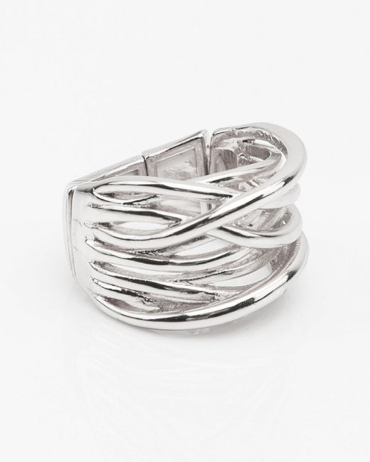 Le Chateau - Metallic Wide Criss-cross Ring - Lyst