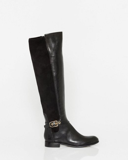 Le Chateau - Black Leather & Elastic Panel Over-the-knee Boot - Lyst