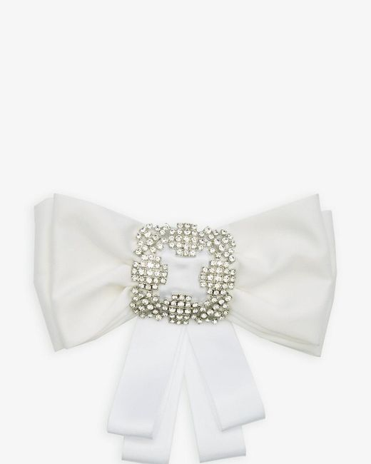 Le Chateau - Metallic Jewel Embellished Satin Bow Pin - Lyst