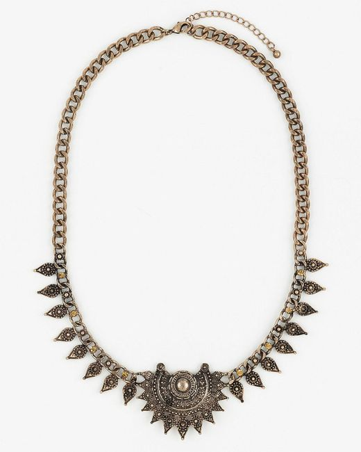 Le Chateau - Metallic Gem & Metal Collarbone Necklace - Lyst