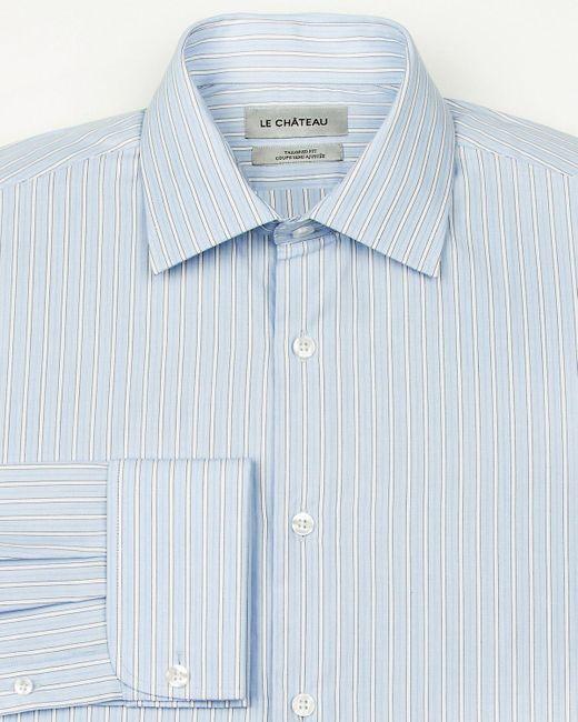 Le Chateau - Blue Stripe Cotton Tailored Fit Shirt for Men - Lyst