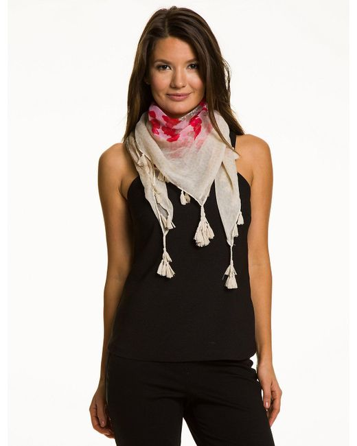 Le Chateau - Pink Floral Voile Scarf - Lyst