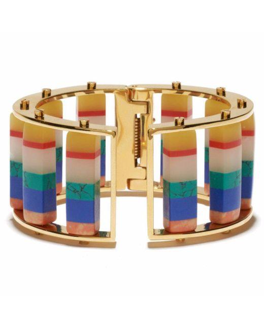 Lele Sadoughi | Blue Striped Hinged Barrel Slider Bracelet | Lyst