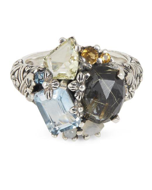 Stephen Dweck Metallic Silver Multi-stone Floral Engraved Ring