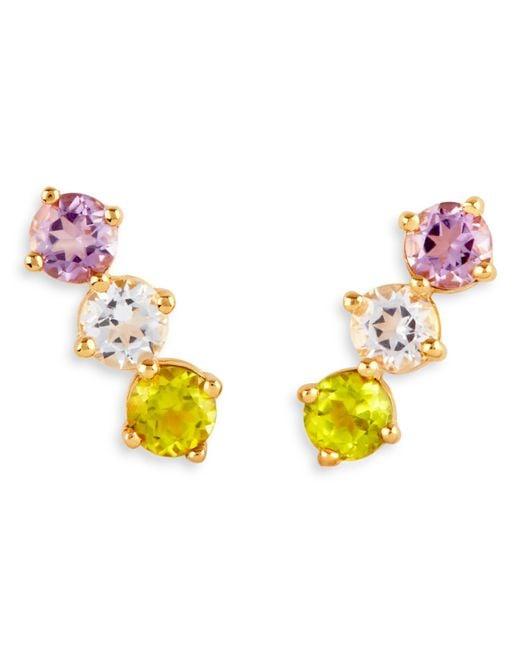 Dinny Hall - Metallic Suffragette Gold Vermeil Trilogy Gem Bar Stud Earrings - Lyst