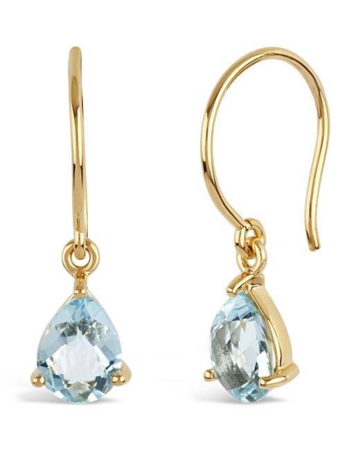 Dinny Hall | Metallic Gold-plated Gem Drops Sky Blue Topaz Drop Earrings | Lyst