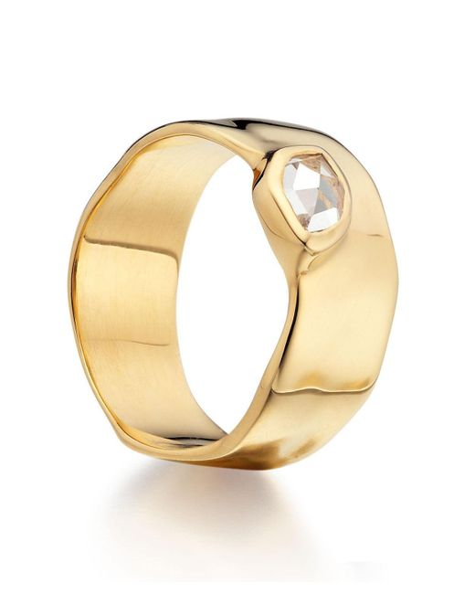 Monica Vinader | Metallic Gold Vermeil Topaz Wide Siren Band | Lyst