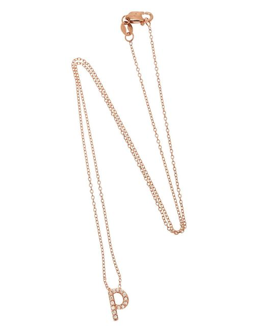 Kc Designs Rose Gold Diamond Letter P Necklace In Metallic