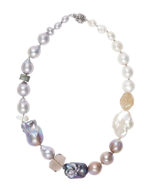 Stephen Dweck | Metallic Baroque Pearl And Quartz Ball Clasp Necklace | Lyst