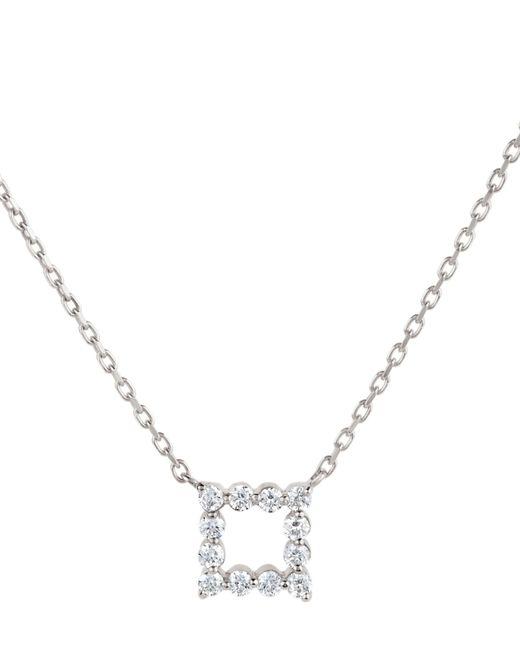 Dinny Hall Metallic White Gold Shuga Open Cube Diamond Pendant Necklace