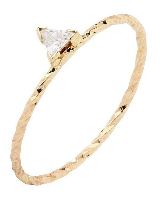 Maria Black Metallic Gold Diamond Cut Viper Trillion Sapphire Ring