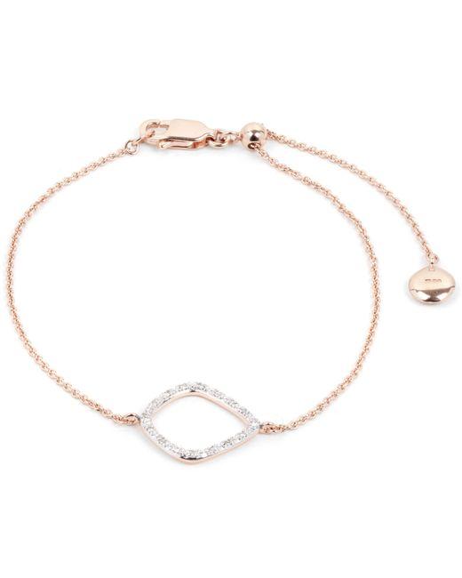 Monica Vinader - Metallic Rose Gold-plated Riva Diamond Kite Chain Bracelet - Lyst