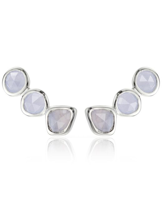 Monica Vinader - Metallic Silver Blue Lace Agate Climber Earrings - Lyst