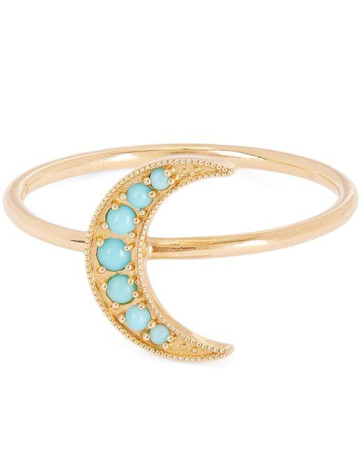 Andrea Fohrman - Metallic Gold Mini Crescent Moon Turquoise Ring - Lyst