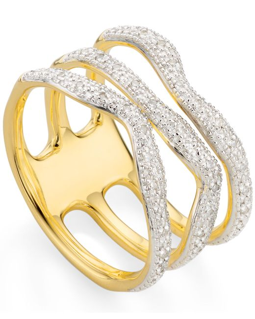 Monica Vinader - Metallic Gold Vermeil Riva Wave Triple Band Diamond Ring - Lyst