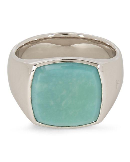 Tom Wood Metallic Cushion Turquoise Ring for men