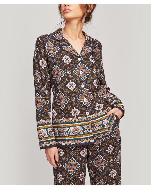 Liberty Blue Chatsworth Brushed Cotton Pyjama Set