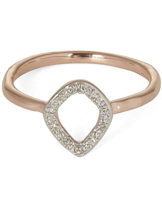 Monica Vinader - Metallic Rose Gold-plated Riva Mini Kite Diamond Stacking Ring - Lyst