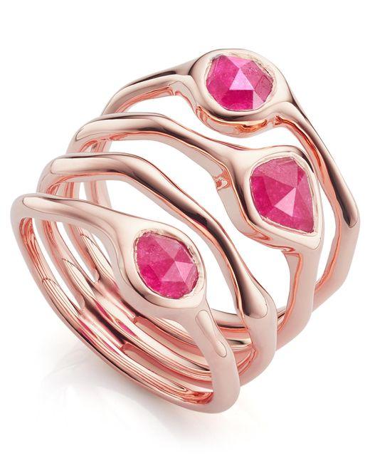 Monica Vinader - Multicolor Rose Gold Vermeil Siren Cluster Pink Quartz Cocktail Ring - Lyst