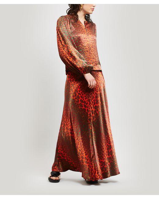 7ab4cf0e3 ... Ganni - Red Leopard Print Heavy Satin Maxi-skirt - Lyst ...