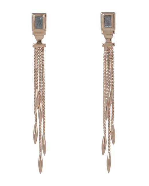 Monica Vinader - Multicolor Rose Gold-plated Baja Deco Labradorite Narrow Drop Cocktail Earrings - Lyst