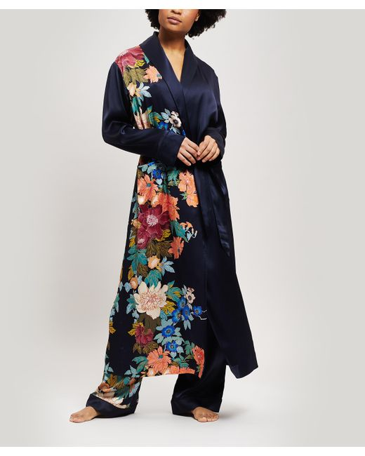 Liberty Blue Sakura Silk Charmeuse Long Robe
