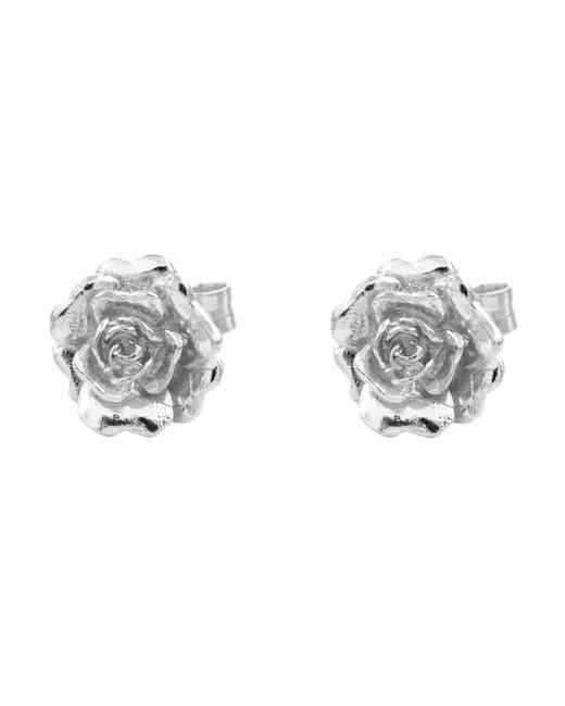 Alex Monroe | Metallic Silver Rose Damasca Stud Earrings | Lyst