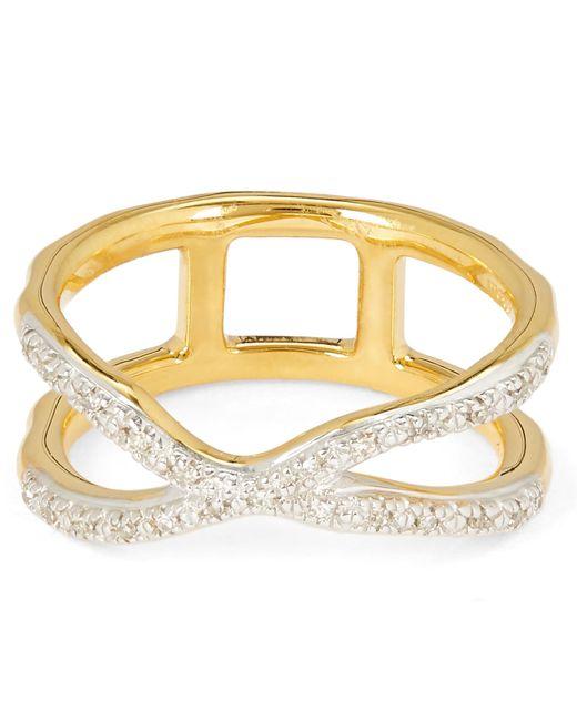 Monica Vinader - Metallic Gold Vermeil Riva Wave Cross Ring - Lyst