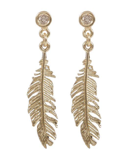 Alex Monroe | Metallic Gold Plume And Champagne Diamond Drop Earrings | Lyst