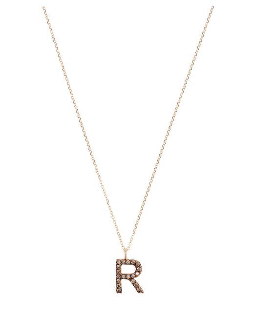 KC Designs Metallic Yellow Gold Champagne Diamond Letter R Necklace