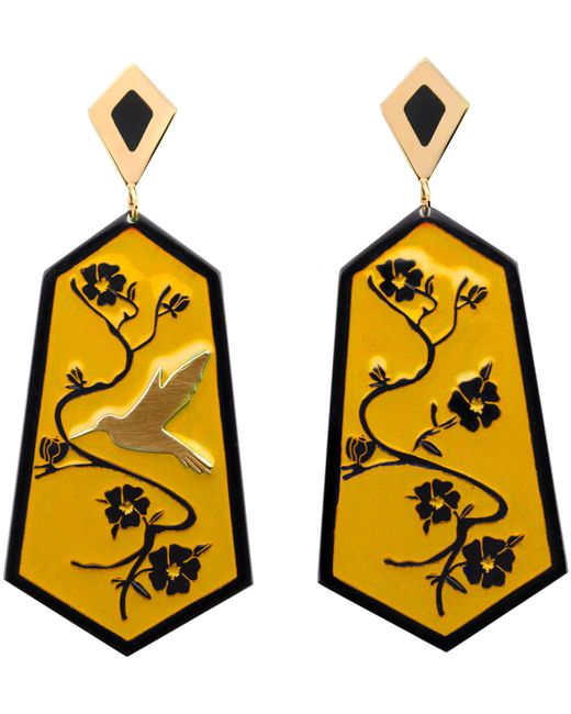 Anna E Alex - Yellow Fiori Di Ciliegio Gold-plated Resin Earrings - Lyst