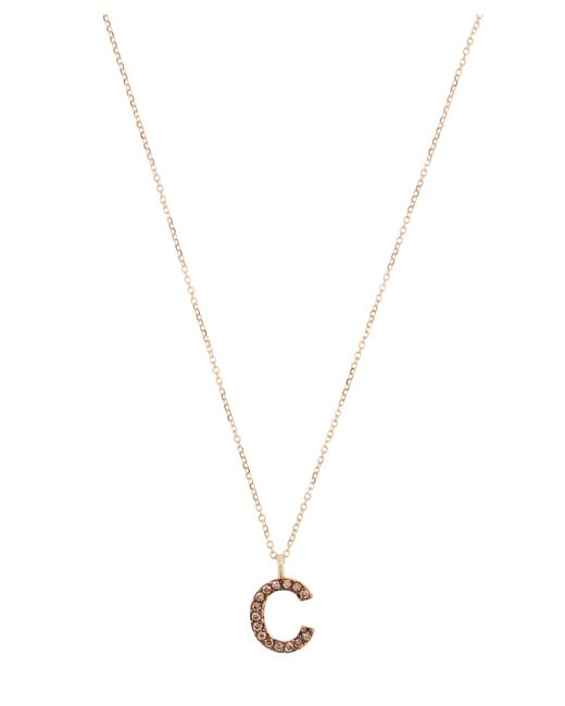 KC Designs - Metallic Yellow Gold Champagne Diamond Letter C Necklace - Lyst
