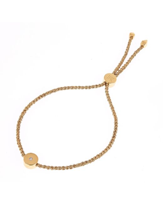Monica Vinader Metallic Gold Vermeil Linear Solo Diamond Cord Friendship Bracelet