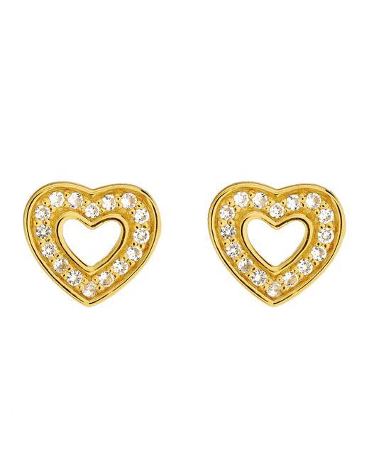 Astley Clarke | Metallic Gold-plated Mini Heart Biography Stud Earrings | Lyst