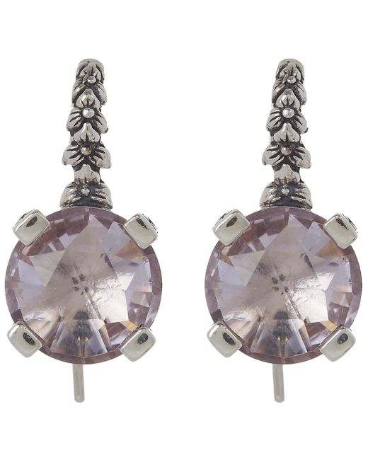 Stephen Dweck | Metallic Silver Amethyst Engraved Floral Drop Earrings | Lyst