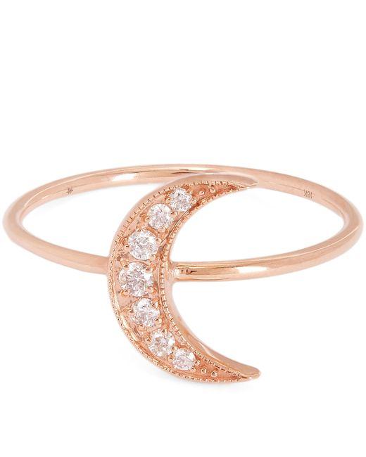 Andrea Fohrman - Multicolor Rose Gold Mini Crescent Moon White Diamond Pavé Ring - Lyst