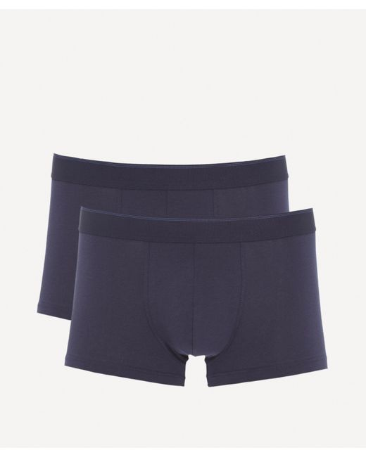 Sunspel Blue Twin Pack Cotton Stretch Trunks for men