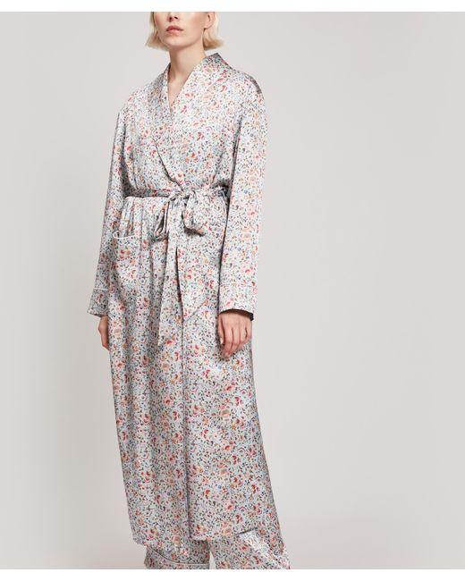 Liberty Blue Delilah Silk Satin Long Robe