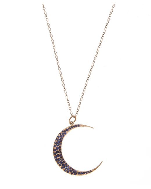 Andrea Fohrman | Multicolor Large Luna Necklace Blue Sapphires 18k Rose Gold | Lyst
