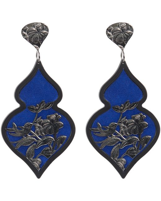 Anna E Alex | Blue Rhodium-plated Silver Velvet Ornate Drop Earrings | Lyst