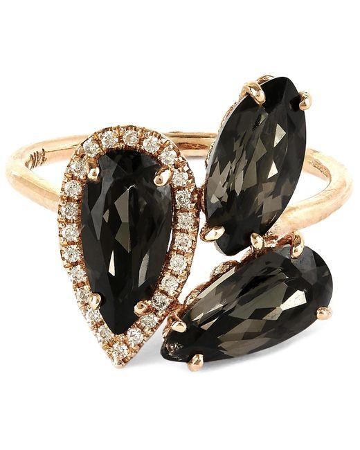 Suzanne Kalan | Metallic Rose Gold Pear Ring With Black Night Quartz And White Diamond | Lyst