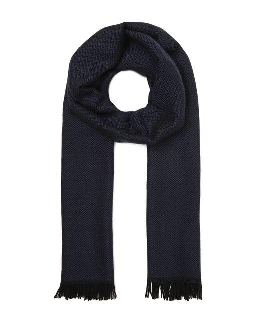 Nick Bronson Blue Herringbone Wool Scarf for men