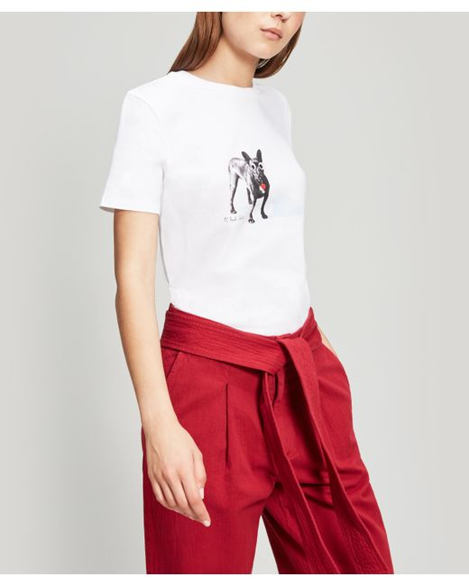 Paul Smith White Dog Print Cotton T-shirt