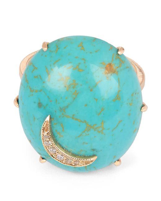 Andrea Fohrman - Metallic Gold Turquoise Oval Diamond Moon Ring - Lyst